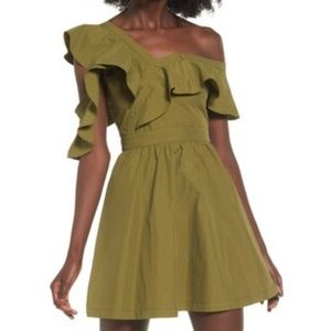 J.O.A. Olive Ruffle Dress, M